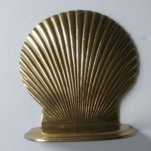Vintage Gold Seashell Clam Bookend 1